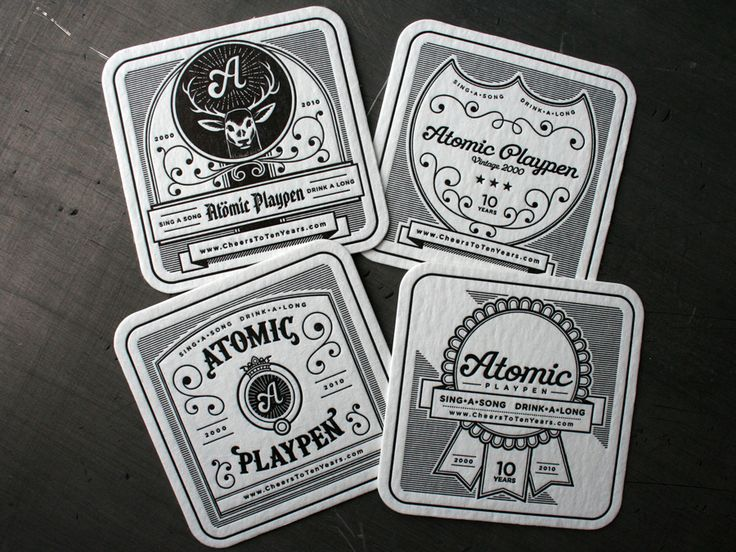 Letterpressed Coasters (love the  ornate line work and typography // Atomic Playpen: Graphic Design, Coasters Graphic, Augmented Reality, Letter Pressed, Design Illustration, Letterpress Coasters, Drinks