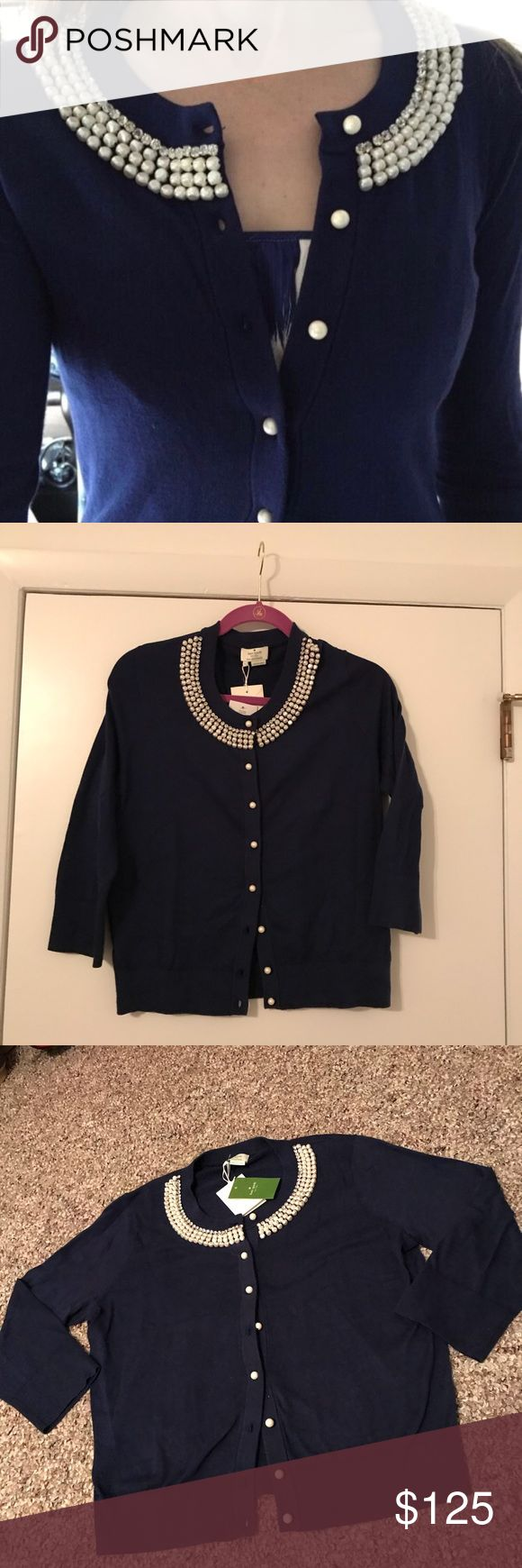 Kate Spade Navy Cardigan Kate Spade Cardigan. Navy blue with pearls on buttons and around collar. Never worn, with original tags. Very comfortable, size large. Sweaters Cardigans