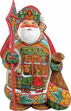 Artistic Wood Carved Little Wishes Santa Claus Sculpture traditional-holiday-decorations
