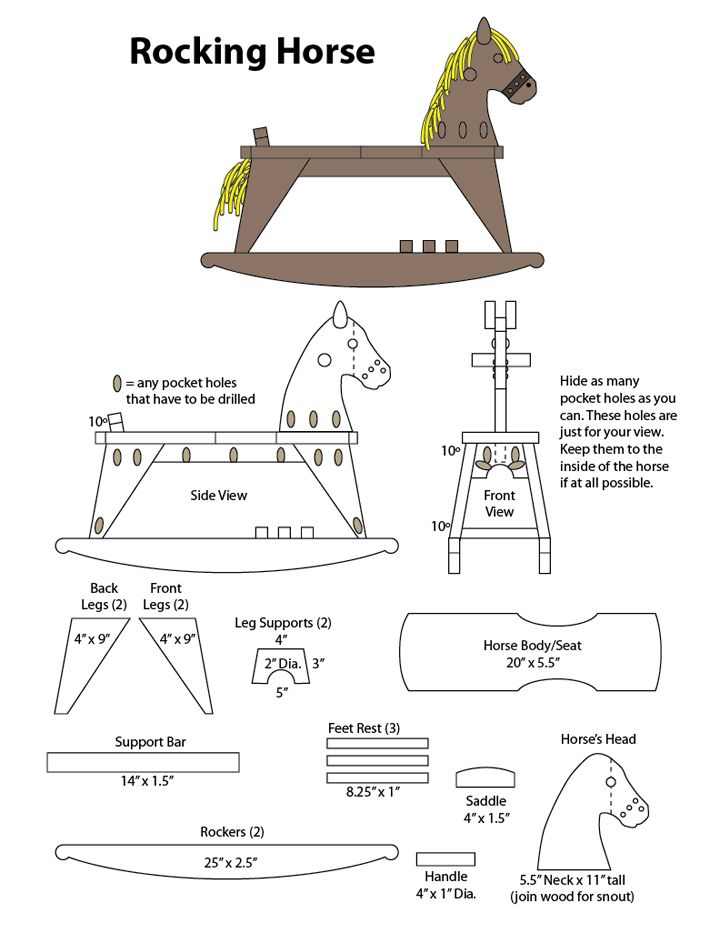 marvelous rocking horse blueprints #1: Free plans for building rocking horses Large wood horse hand painted gray  white rusty wheels French Nordic inspired