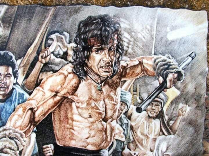 Pietra lavica e ceramica,particolare dopo la cottura in forno. Sylvester Stallone Rambo III - Ceramic Art