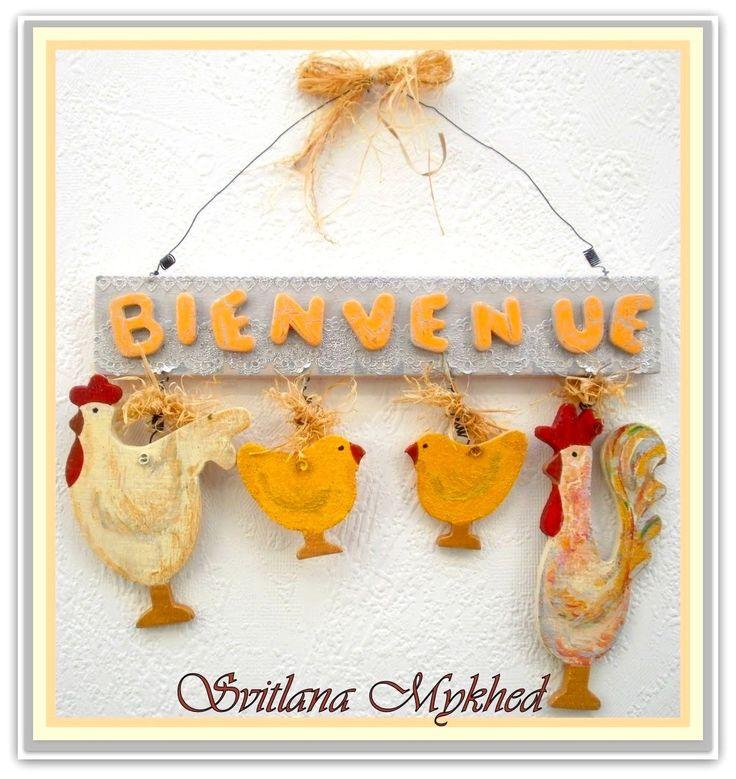 """Plaque de porte d'entrée """"Bienvenue. Famille. Coq, Poule et Poussins"""". Creation unique : Accessoires de maison par perles-et-couronnes"""