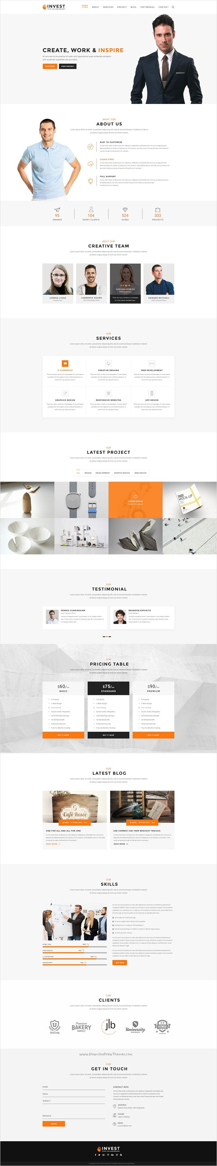 Invest is a unique, modern multipurpose 3 in 1 #PSD #template for any kind of #business, corporate website download now➩ https://themeforest.net/item/invest-multipurpose-business-psd-template/18484767?ref=Datasata