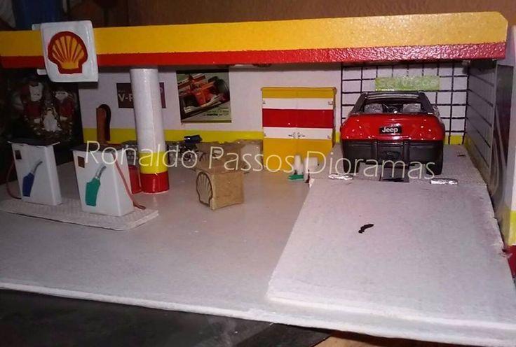 Diorama Posto Shell: Jeep Jeepster. Escala 1/39