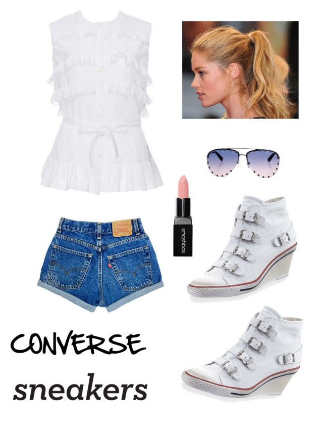 """""""The wedge sneaker"""" by kotnourka ❤ liked on Polyvore featuring Ash, Louis Vuitton, Alaïa, Champion and Smashbox"""