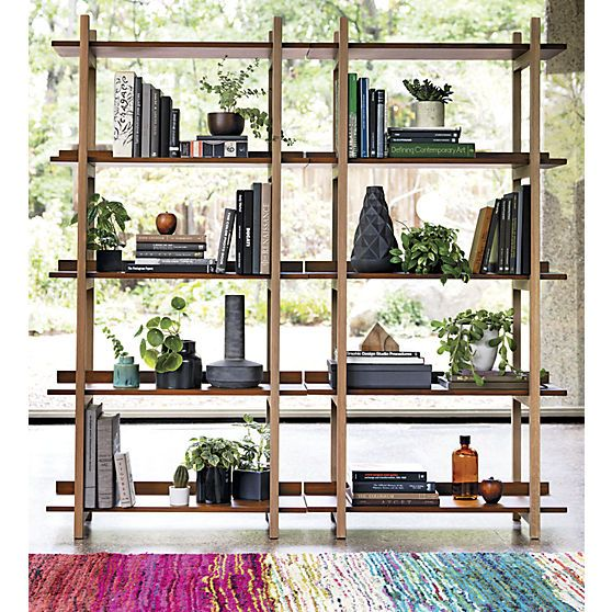 stax bookcase in view all new   CB2. 2x $399 = $798. nice. solid wood.