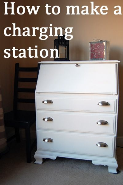 how to make a charging station and laptop storage from a dresser or desk
