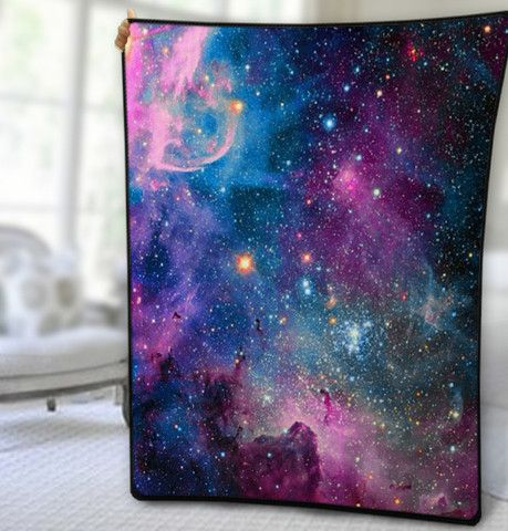 Deep Blue Milky Way Nebula, Quilt, Fleece Blanket, Large Size, Medium Size, Small Size