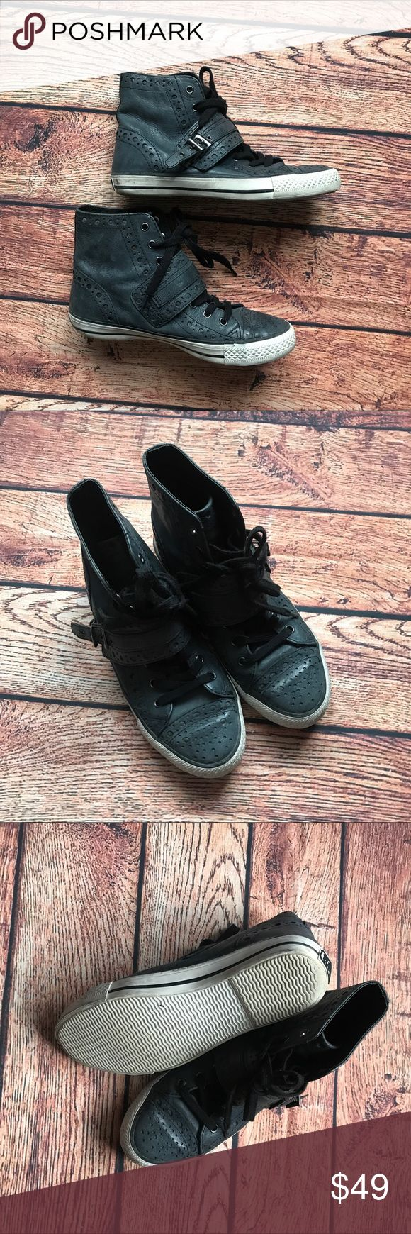 ASH leather high top sneakers shoes 38 8 Ash leather sneakers. Sz 38. Very good condition. Ash Shoes Sneakers