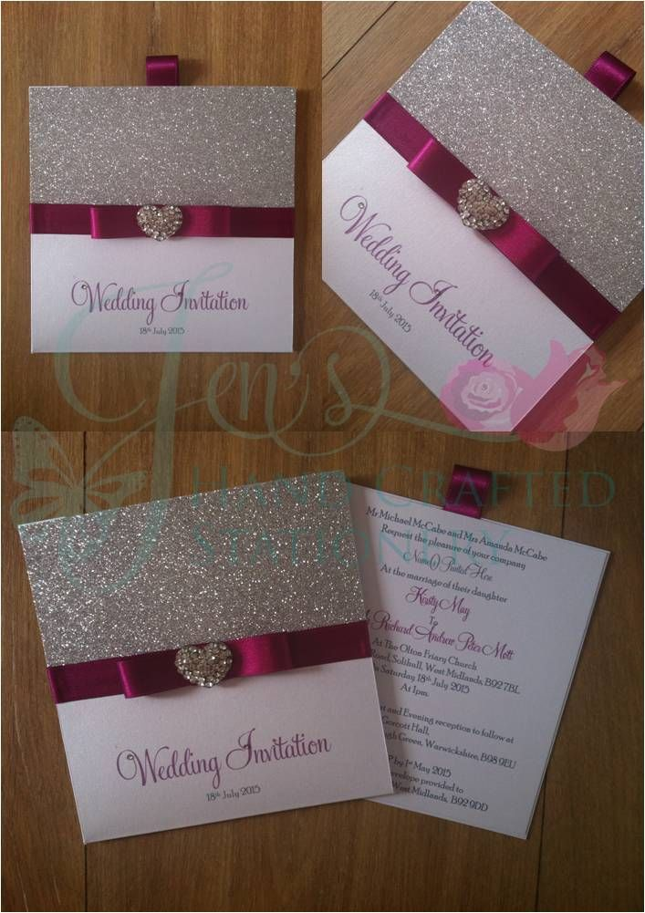 Magenta Wallet invitation with silver glitter and