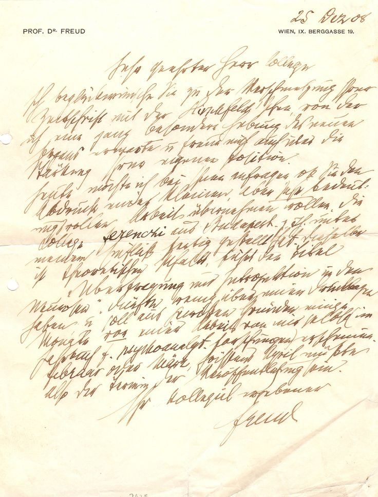 FREUD SIGMUND: (1856-1939) Austrian Neurologist, the founder of psychoanalysis. A good A.L.S., Freud, one page, 4to, Vienna, 25th December 1908, to [Friedrich Salomon Krauss] ('My dear Colleague'), in German, on Freud's personal printed stationery. Freud congratulates his correspondent on 'the merging of your journal with that of Hirschfeld' and adds that he expects 'it will strengthen its significance in a very special manner'.