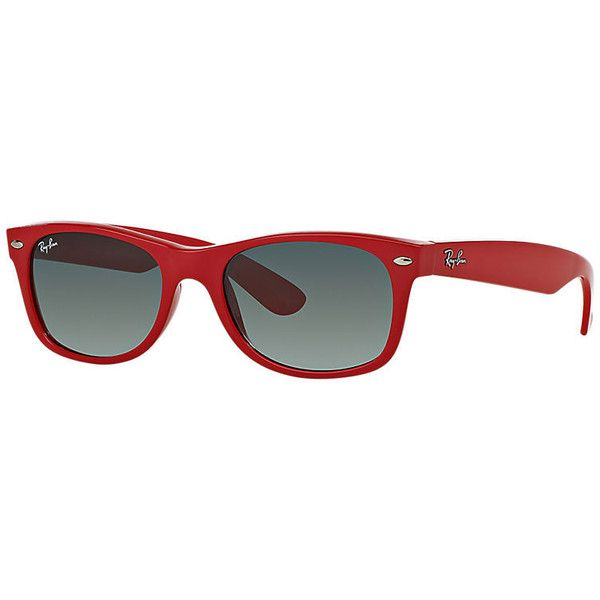 Ray-Ban New Wayfarer Color Splash Red, Gray Lenses - Rb2132 ($98) ❤ liked on Polyvore featuring accessories, eyewear, sunglasses, red, red glasses, red eyewear, wayfarer glasses, ray ban glasses and red wayfarer