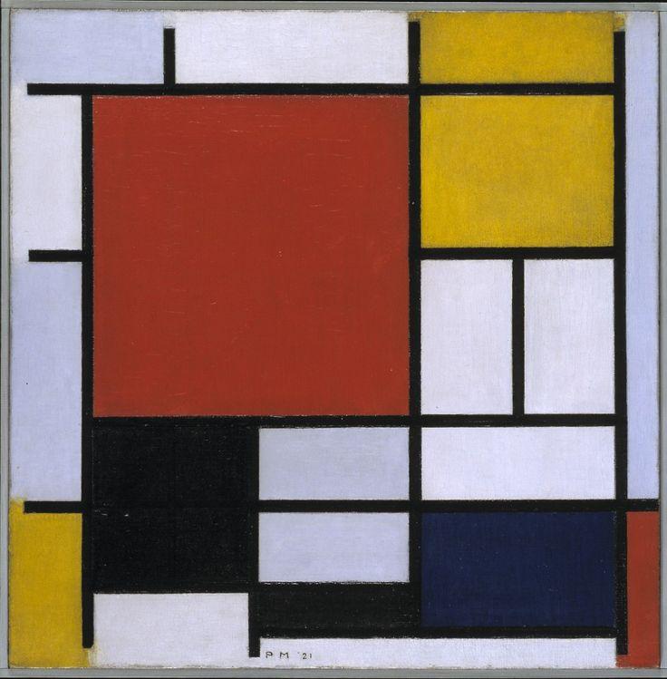 Vlak. (lijn) Kunstwerk waarbij verschillende gekleurde vlakken zijn onderverdeeld door zeer aanwezige zwarte lijnen.