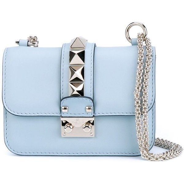 Valentino Garavani small 'Glam Lock' shoulder bag ($1,825) ❤ liked on Polyvore featuring bags, handbags, shoulder bags, blue, valentino purses, blue shoulder bag, lock handbag, chain shoulder bag and valentino handbags