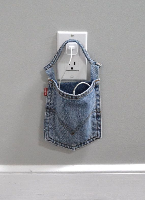 Cell phone charger holder, extra large phone charger, Levi's, docking station, phone charging pouch