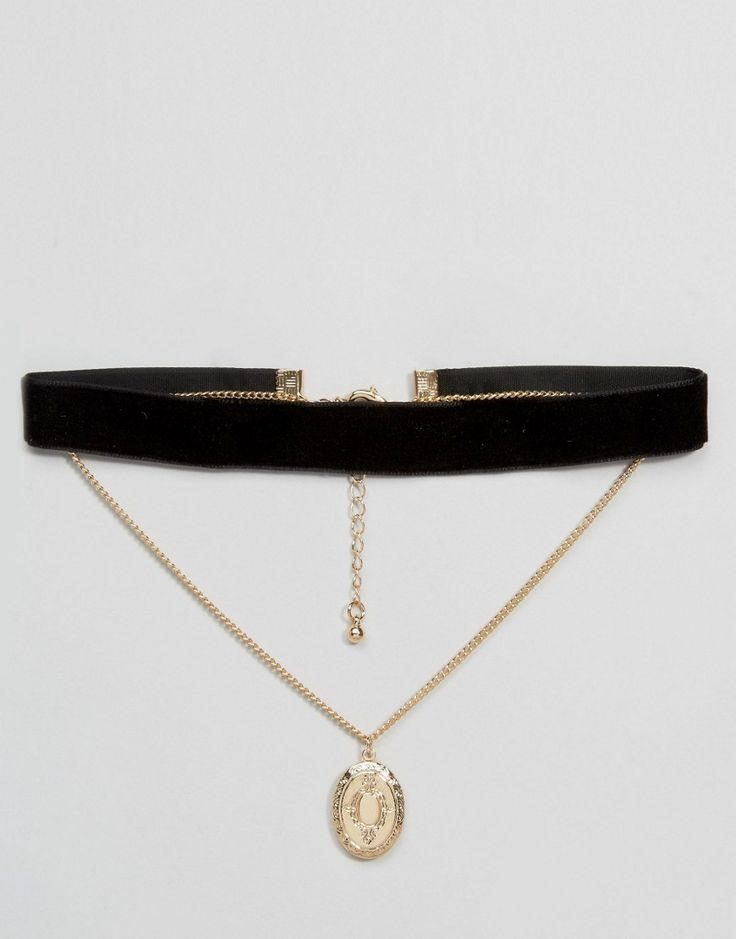 Image 1 of ASOS Multirow Velvet Choker With Locket Charm