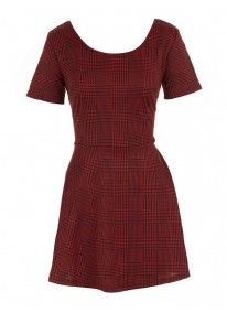 Knitted houndstooth dress Red