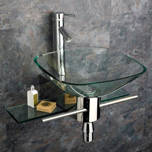 Padova Square Clear Gl Wall Mounted Basin Stainless Mount And Tap Contemporary Bathroom Sinks Clickbasin