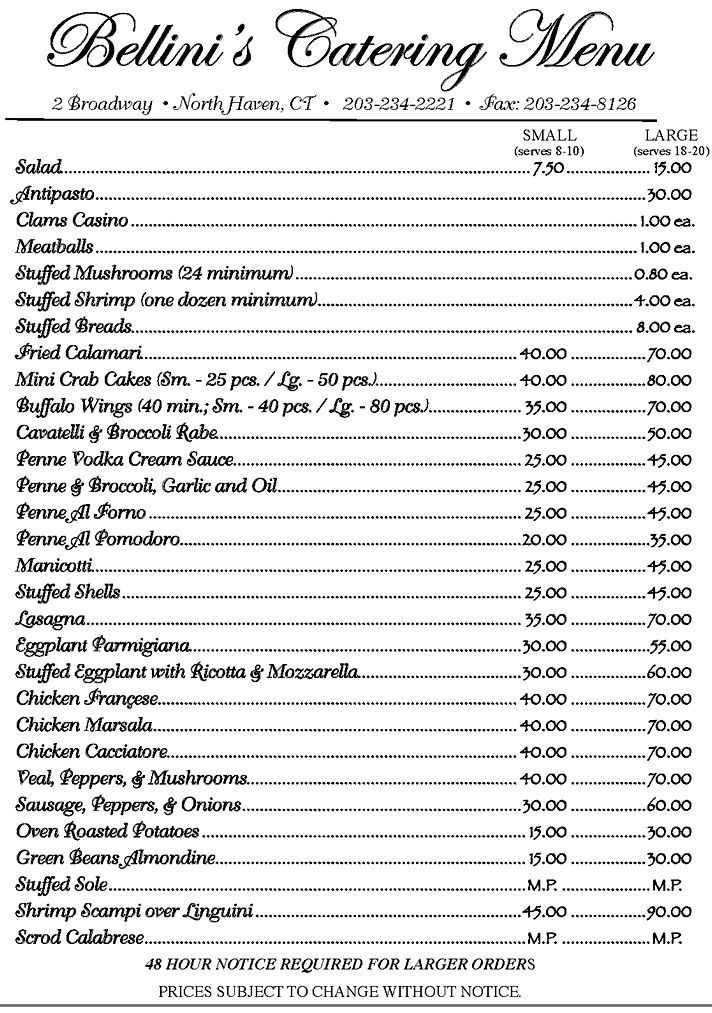 BELLINI'S CATERING MENU                                                                                                                                                                                 More