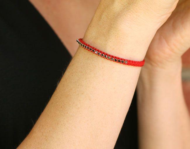 Micro Macrame Bracelet: Macrame Rhinestone