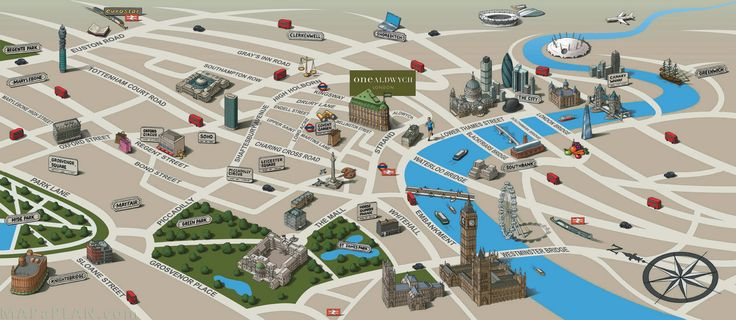 Landmarks birds eye view London top tourist attractions map – Tourist Maps of London