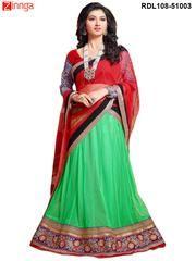 Red and Parrot Color Net,Velvet and Jacquard Unstitched Lehenga Choli   #Lehenga #Lehengas #Fashion  #Sarees #Saris #Fashion #looking #Popular #Offers #Deals #Zinnga #Zinngafashion #Look #Popular #Offers