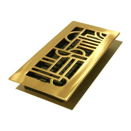Art deco satin brass solid brass floor registers floor Decorative floor registers