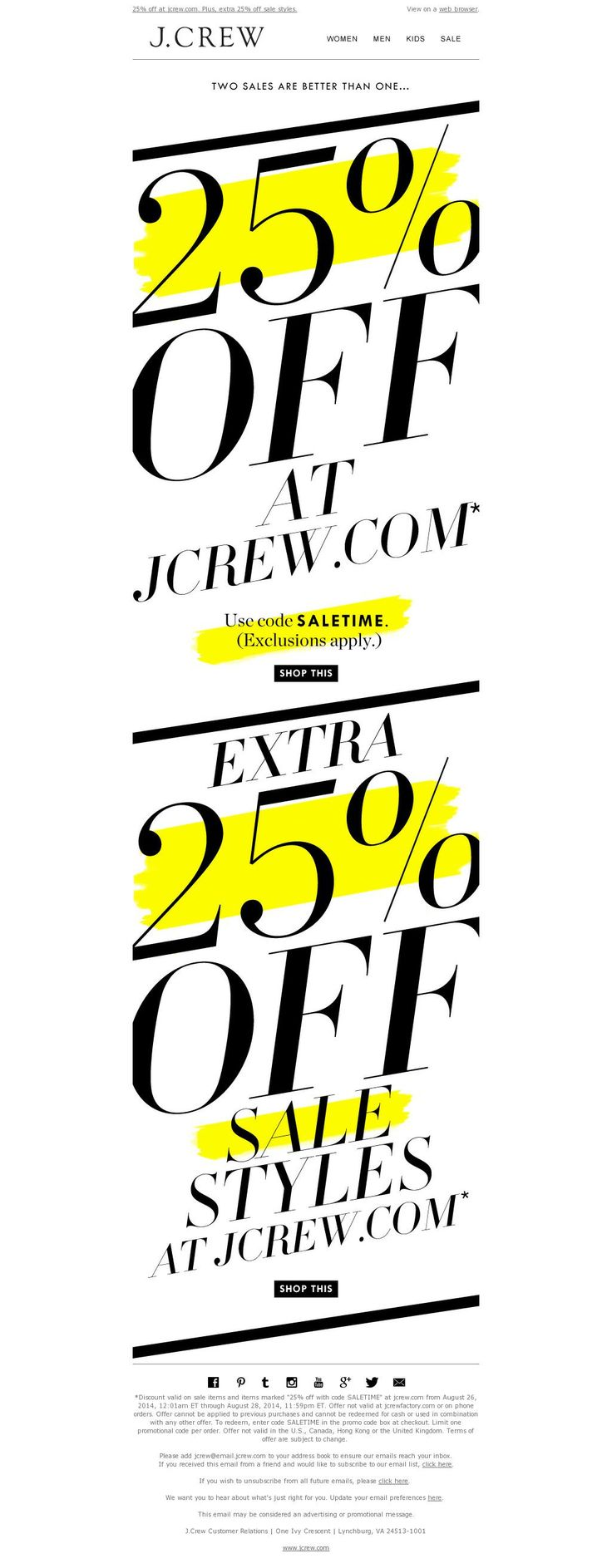"messaging 2 promotions in one email, strategic ""highlighting"" of key information"