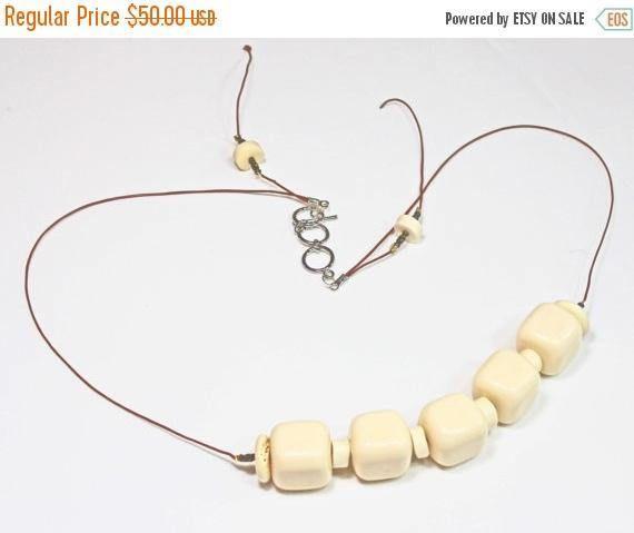 On Sale Ivory Bead Necklace Acrylic Ivory Beads Nylon Cord