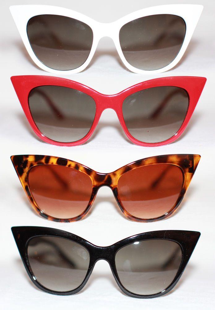 Cat Eye Sonnenbrille Rockabilly Pinup z. Petticoat Kleid schwarz weiß rot 971