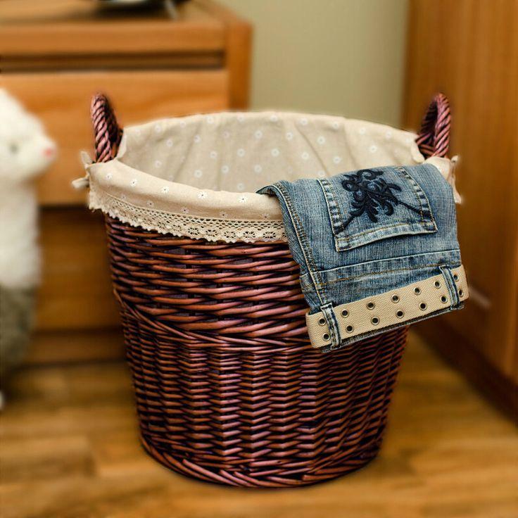 Natural Eco-Friendly Organizer Woven Wicker Storage Basket Fabric Inside Laundry…