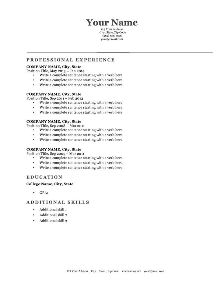 17 Best images about Resume Genius Templates Download on – Free Job Resume Template