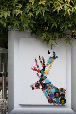 ...Schilderij DIY Hert is leuk voor kinderen om zelf te maken en als cadeau te geven voor moederdag of vaderdag.