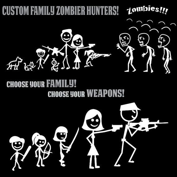 Totally custom zombie hunter stickers any weapon any family member any pet