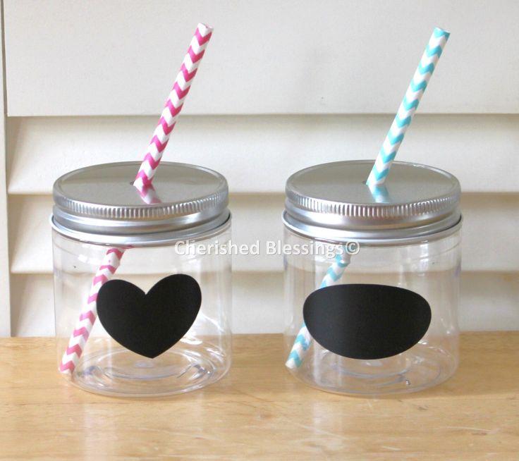 Plastic Mason Jars, Mason Jar Lids with Straw Hole, Straw Lids, Kids size, Kids Party Cups, 8oz Mason Jars, Rustic, Favors, Table Setting by CherishedBlessings on Etsy https://www.etsy.com/listing/202662221/plastic-mason-jars-mason-jar-lids-with
