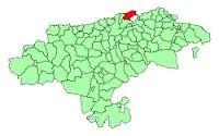 Mapa de Cantabria y Santander en rojo.