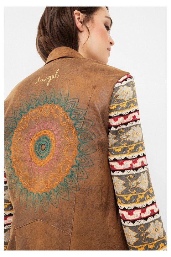 Chaqueta marrón con cuello vuelto | Desigual.com H