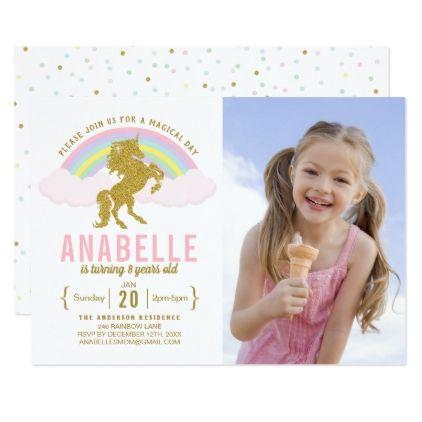 Rainbow Glitter Unicorn Photo Birthday Invitation - diy cyo personalize design idea new special custom