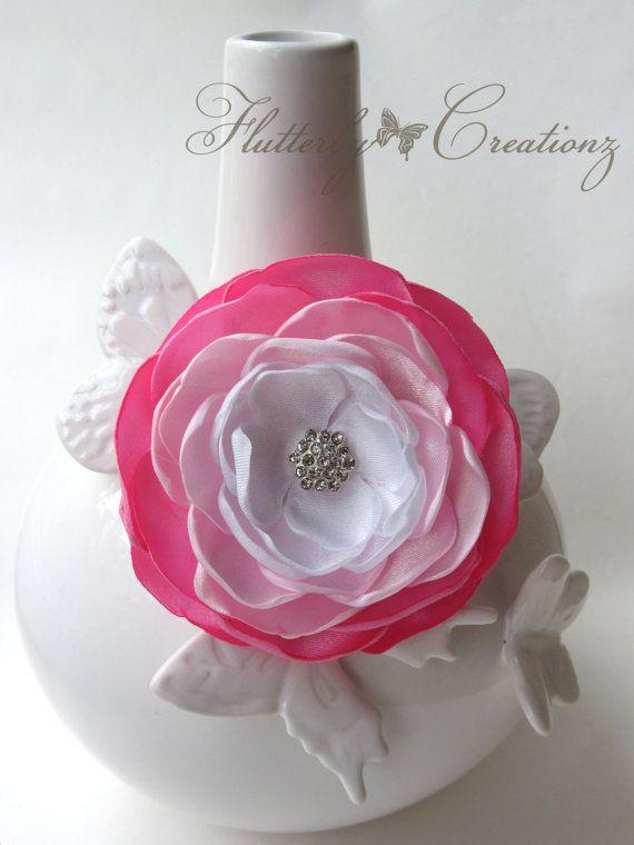 Dark Pink, Light Pink & White Satin Burnt (Heat Singed) Petals Flower Clip - Girl, Teen, Photography Prop, School, Special Occasion