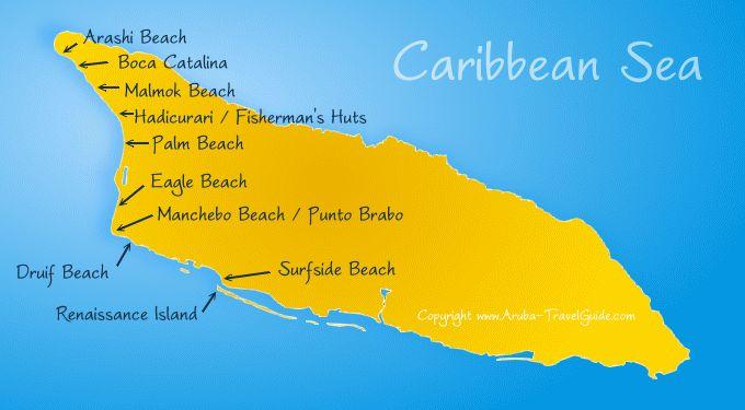 West - North map of Aruba