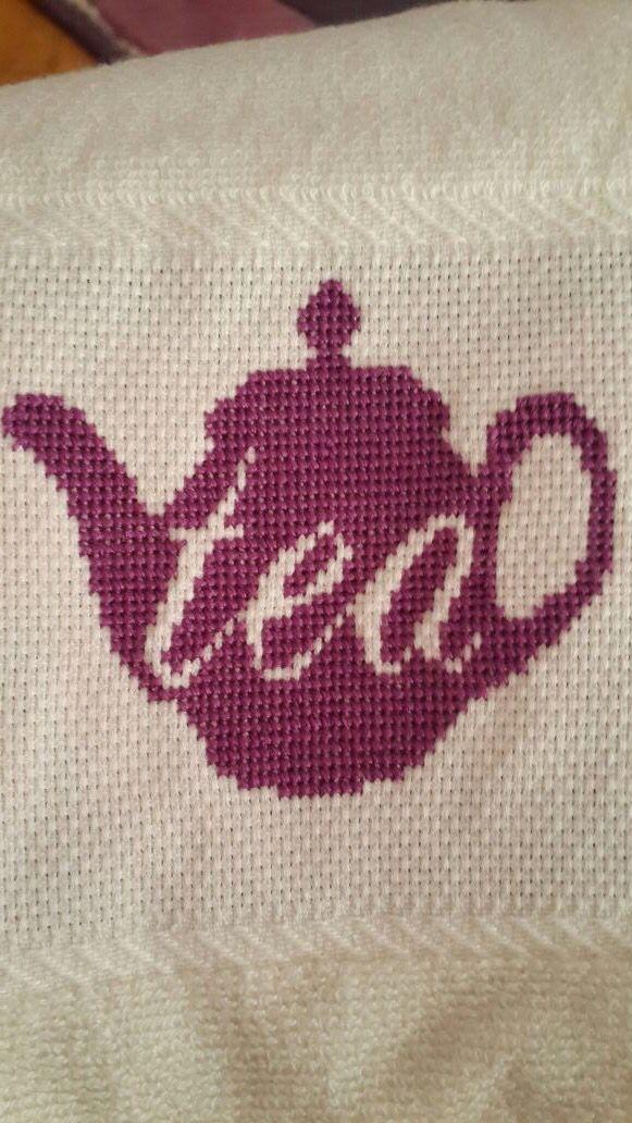 Cross stitch kitchen tea kettle