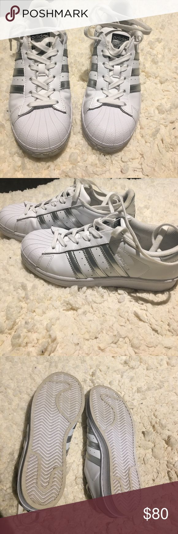 Adidas superstars original Slightly/hardly used and never worn. Great pristine condition. Only good offers accepted. Silver ad no box size 6 adidas so normally a size 7. Tagged 7 because that's what they fit. All offers accepted Adidas Shoes Sneakers