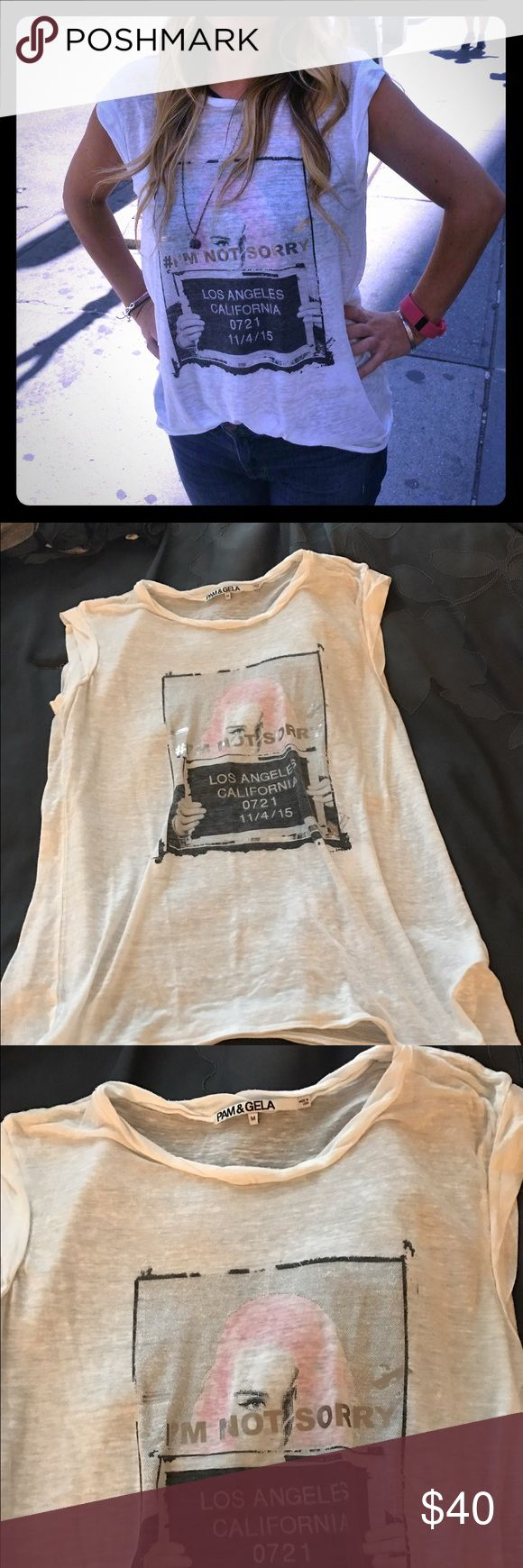 """White soft tee Pam & Gela white soft tee saying """"sorry I'm not sorry"""". Excellent condition. pam & gela Tops Tees - Short Sleeve"""
