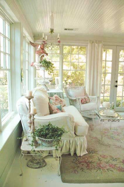 Country Cottage. LOVE this room!! All the light from the windows and the soft muted colors. ...BEAUTIFUL