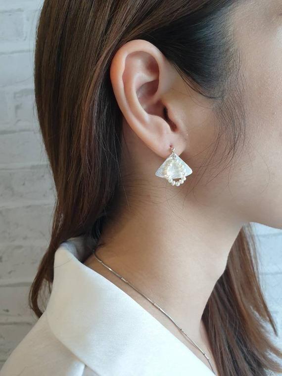 Sterling Silver Mismatched Rose Quartz /& Pearl Earrings Statement Earrings