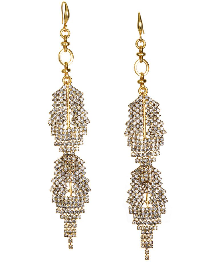 """Rhinestone Feather Duster Earrings by #BadgleyMischka. These lovely rhinestone embellished earrings feature a feather design made of 18K gold plating. The offer a 5"""" drop to complete the look. #badgleymischkabride #bridal #bride #weddingjewelry #ido #bride #weddingdress #weddinggown #wedding #dresses #bridetobe #weddingstyle #beautifulbride #weddinginspiration #weddingplanner #weddingparty #instabride #redcarpet #princess #goals #beauty #instastyle #musthave #stylish #weddingideas…"""