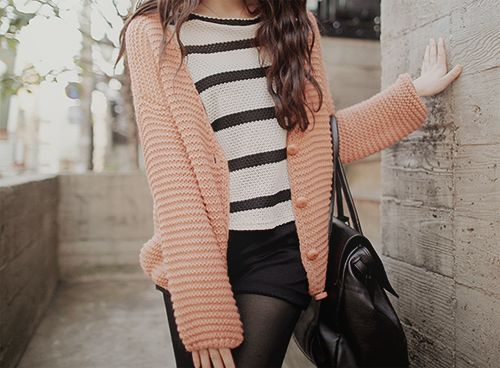 knit tops with shorts and tights #kfashion: