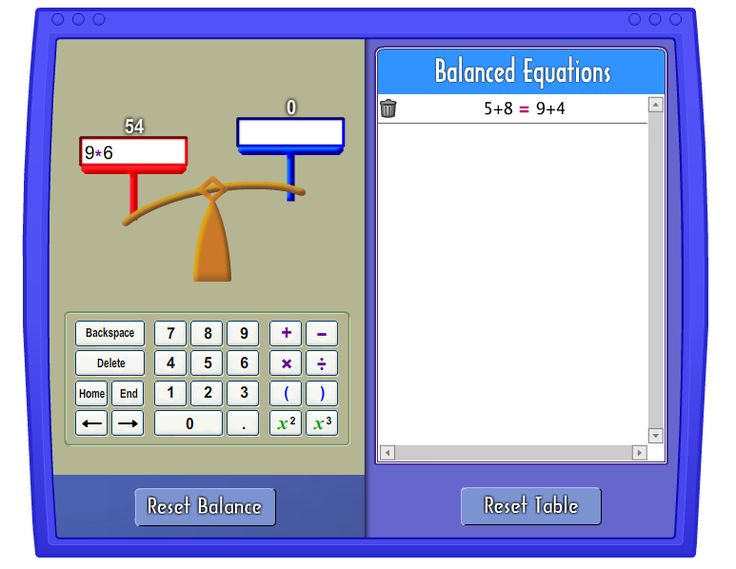 "Pan Balance: Use this tool to strengthen understanding and computation of numerical expressions and equality. In understanding equality, one of the first things students must realize is that equality is a relationship, not an operation. Many students view ""="" as ""find the answer."" For these students, it is difficult to understand equations such as 11 = 4 + 7 or 3 × 5 = 17 – 2."