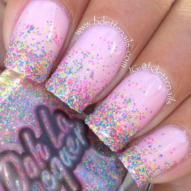 Instagram media by bdettenails - I did this glitter gradient using Neonpolitan by OohLaLacquer (@oohlanastassia) over Privacy Please by @OPI. This glitterbomb was fun and easy to work with!! It looks like candy on my nails!