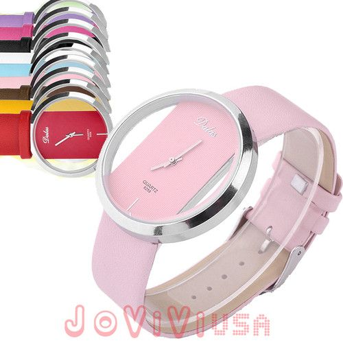 Fashion Simply Style Transparent Perspective Dial Quartz Womens Wrist Watch
